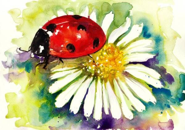 Acuarela Painting - Ladybug In Flowers by Tiberiu Soos