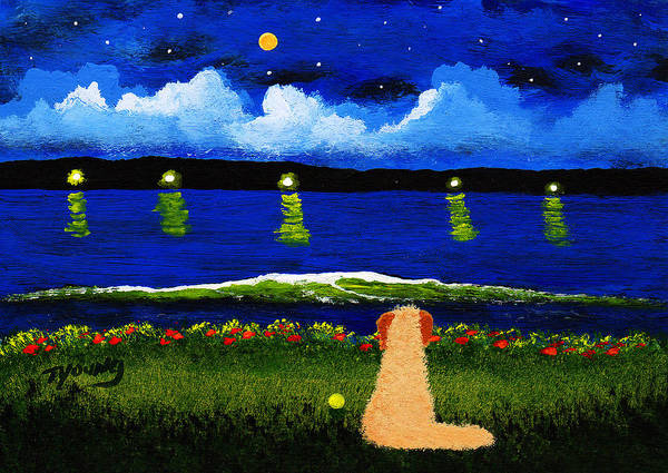 Doodle Painting - Lake Lights by Todd Young