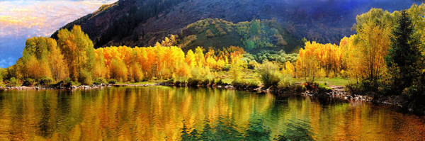 Photograph - Lake Reflection In Fall  by OLena Art - Lena Owens