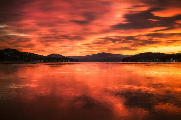Photograph - Lake Winnipesaukee - Fiery Sunrise by Robert Clifford