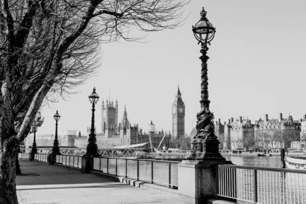 Wall Art - Photograph - Lamp On South Bank Of River Thames by Paul Daniels