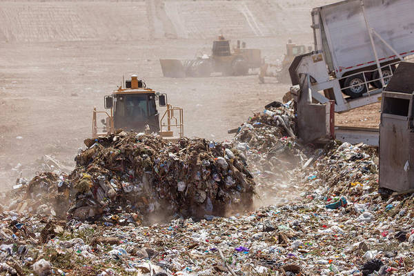 Bulldozer Photograph - Landfill Waste Disposal Site by Peter Menzel