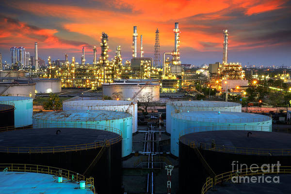 Manufacturing Plant Wall Art - Photograph - Landscape Of Oil Refinery Industry  by Anek Suwannaphoom