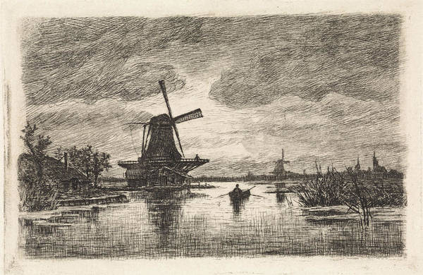 Wall Art - Drawing - Landscape With Two Mills And A Rowboat, Elias Stark by Elias Stark