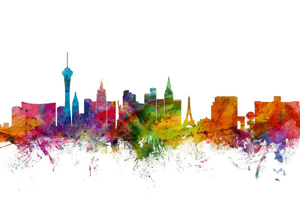 Watercolours Wall Art - Digital Art - Las Vegas Nevada Skyline by Michael Tompsett