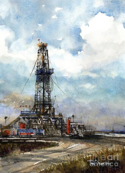 Oil Well Painting - Latshaw Rig #8 by Tim Oliver