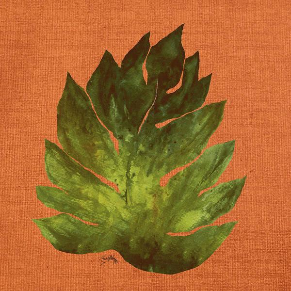 Wall Art - Digital Art - Leaf On Teal Burlap by Elizabeth Medley