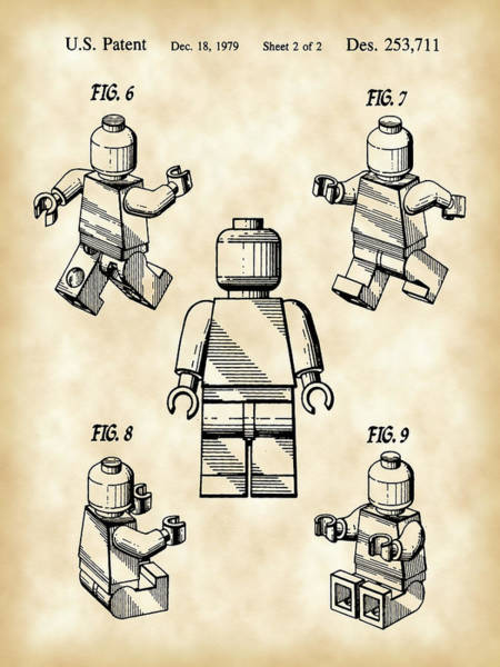 Wall Art - Digital Art - Lego Figure Patent 1979 - Vintage by Stephen Younts
