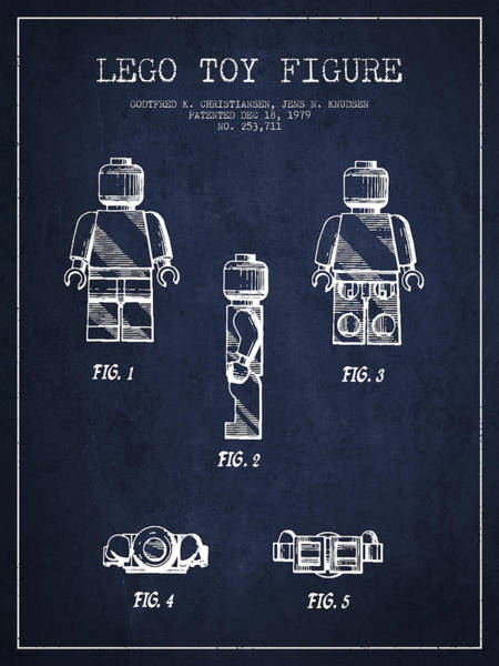 Wall Art - Digital Art - Lego Toy Figure Patent - Navy Blue by Aged Pixel