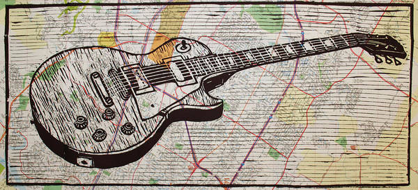 Drawing - Les Paul On Austin Map by William Cauthern
