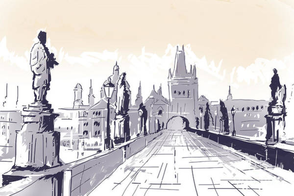 Charles Bridge Photograph - Lesser Town Bridge Tower Drawing Czech Republic by Jorgo Photography - Wall Art Gallery