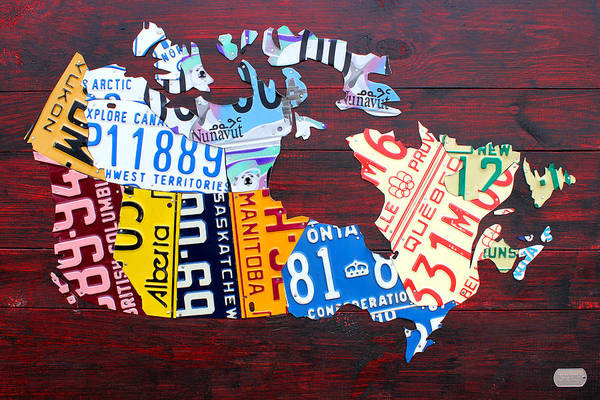 Halifax Wall Art - Mixed Media - License Plate Map Of Canada by Design Turnpike
