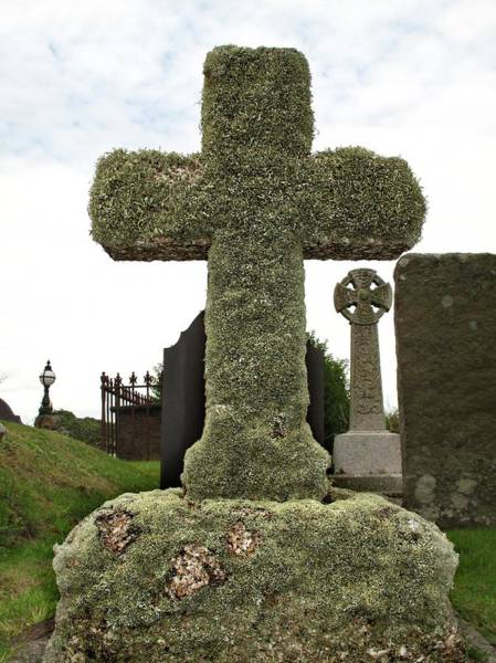 Welsh Church Wall Art - Photograph - Lichen On A Stone Cross In Clean Air by Cordelia Molloy