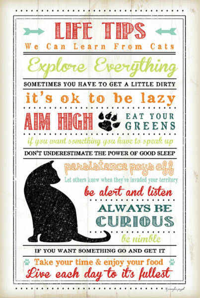 Wall Art - Painting - Life Tips - Cats by Jennifer Pugh