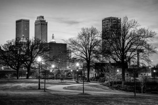 Centennial Photograph - Lighted Walkway To The Tulsa Oklahoma Skyline - Black And White by Gregory Ballos