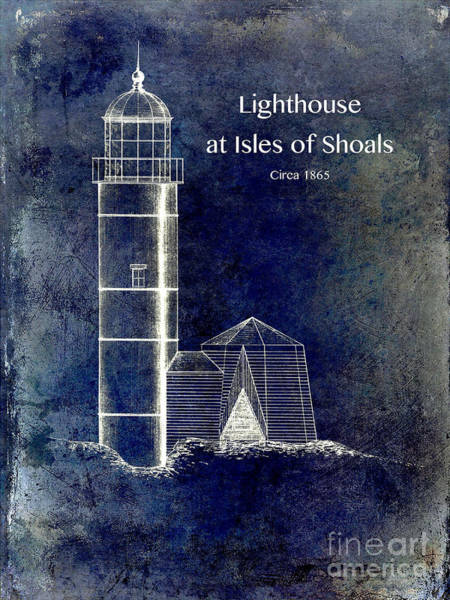 Marker Drawing - Lighthouse At Isles Of Shoals by Jon Neidert