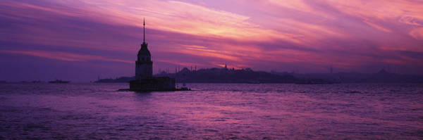 Hagia Sophia Photograph - Lighthouse In The Sea With Mosque by Panoramic Images
