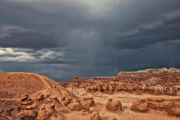 Goblin Valley State Park Photograph - Lightning During Desert Storm by Roger Hill/science Photo Library