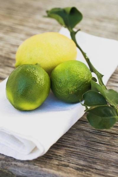 Wall Art - Photograph - Limes And Lemon On White Cloth by Foodcollection