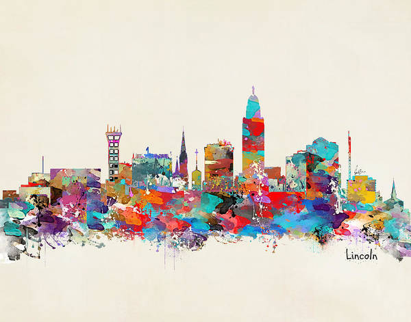 Wall Art - Painting - Lincoln Nebraska Skyline by Bri Buckley