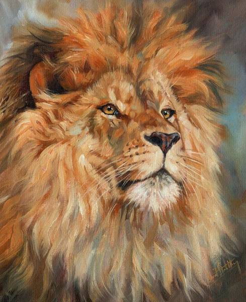 Big Cat Wall Art - Painting - Lion by David Stribbling