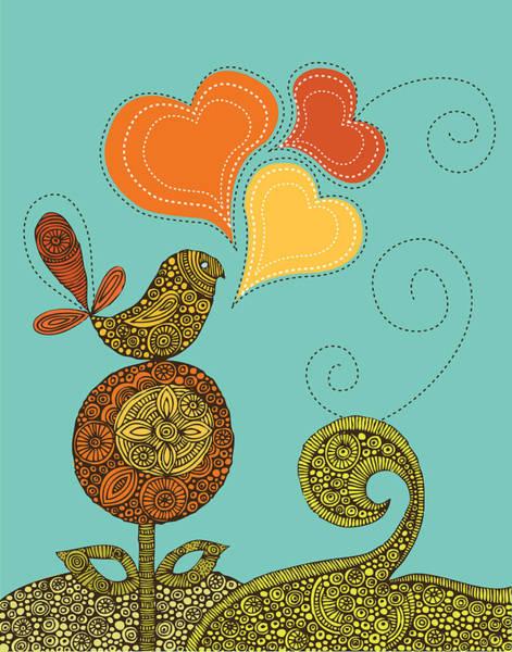 Digital Illustration Photograph - Little Bird In The Flower by Valentina Ramos