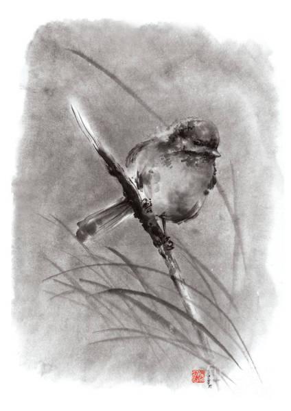 Sumi Wall Art - Painting - Little Bird On Branch  by Mariusz Szmerdt