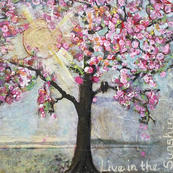 Lovebird Painting - Live In The Sunshine by Blenda Studio