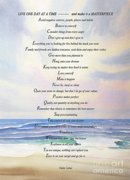 Wall Art - Painting - Live One Day At A Time by Barbara McMahon