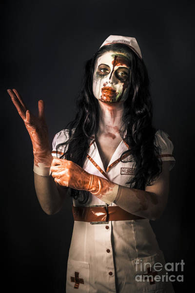 Nurse Photograph - Living Dead Health Professional Putting On Gloves by Jorgo Photography - Wall Art Gallery