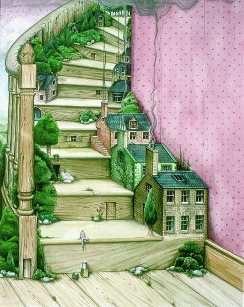 Wall Art - Painting - Living Stairs by MGL Meiklejohn Graphics Licensing
