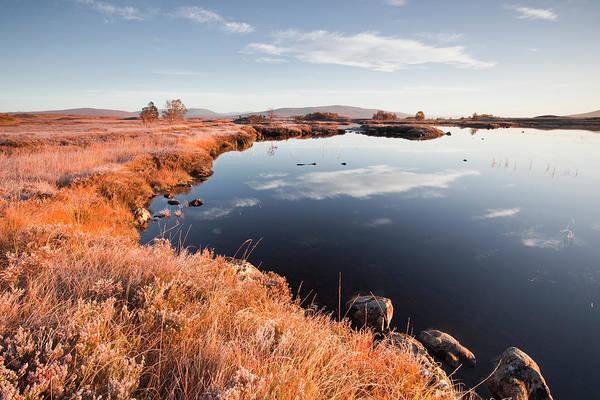 Moored Photograph - Loch Ba On Rannoch Moor On A Frosty by Julian Elliott Photography