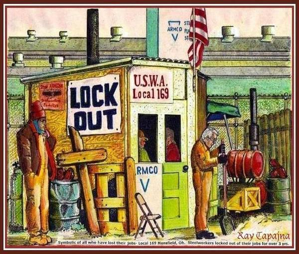 Painting - Locked Out Workers Bearing Their Cross by Ray Tapajna