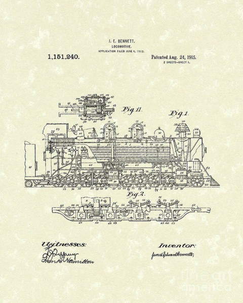 Wall Art - Drawing - Locomotive 1915 Patent Art by Prior Art Design