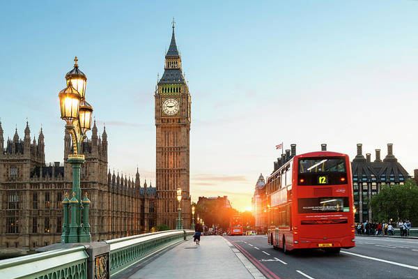 Westminster Bridge Photograph - London Big Ben And Traffic On by Sylvain Sonnet