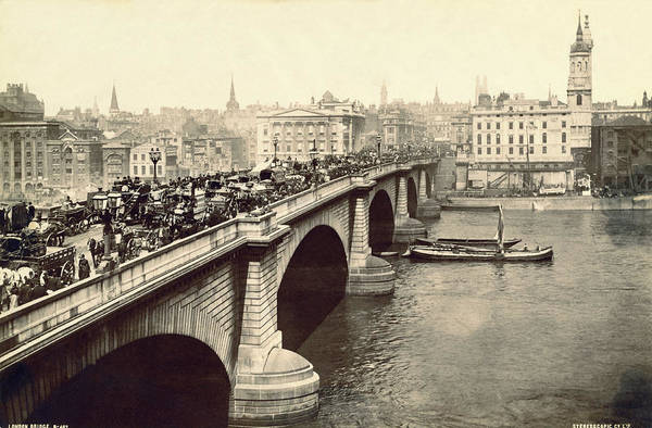 1894 Photograph - London Bridge Traffic by Underwood Archives