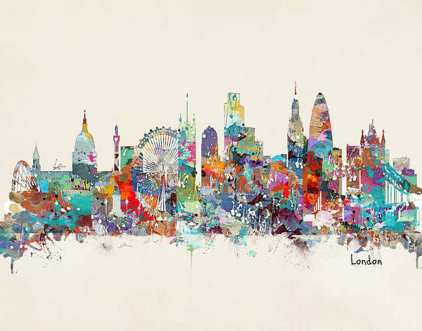 Watercolour Landscape Painting - London City Skyline by Bri Buckley