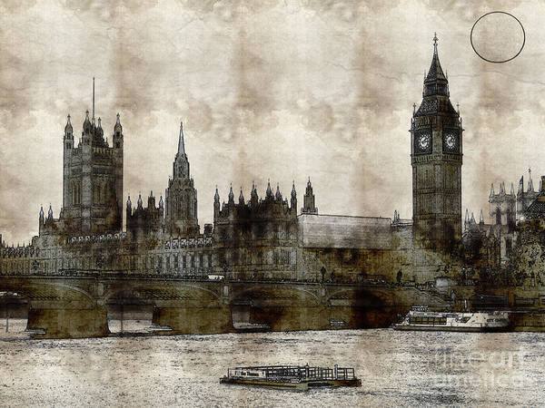 Drawing - London Parliament Building by Celestial Images