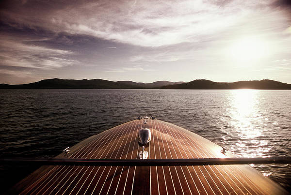 Lake Winnipesaukee Wall Art - Photograph - Looking Over The Bow Of A Classic by Dave Shafer