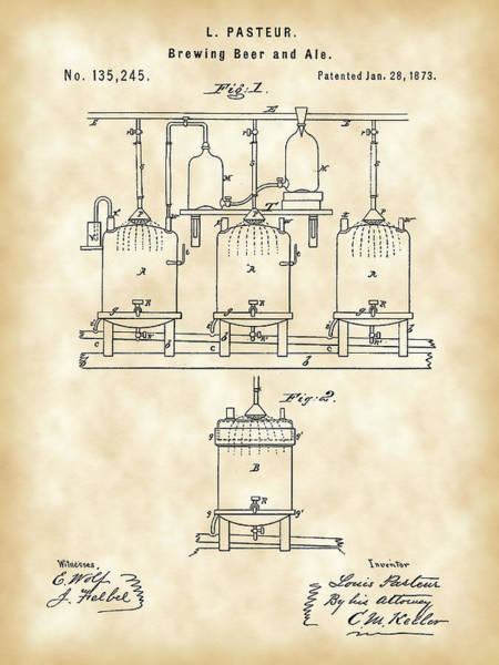 Frosty Digital Art - Louis Pasteur Beer Brewing Patent 1873 - Vintage by Stephen Younts