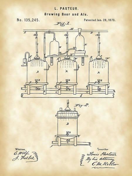 Wall Art - Digital Art - Louis Pasteur Beer Brewing Patent 1873 - Vintage by Stephen Younts