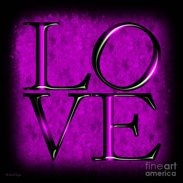 Digital Art - Love In Purple by Andee Design