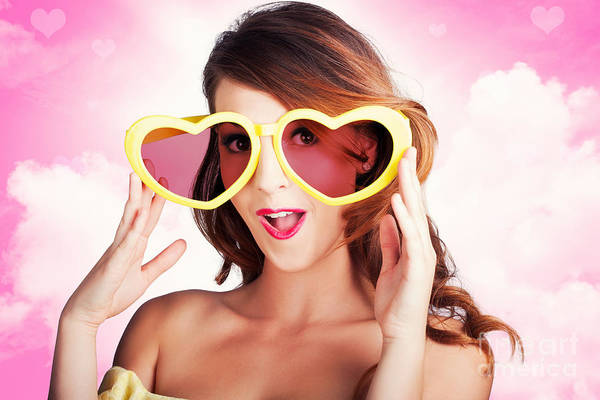 Saying Photograph - Love Is Blind. Woman Wearing Heart Shape Glasses by Jorgo Photography - Wall Art Gallery