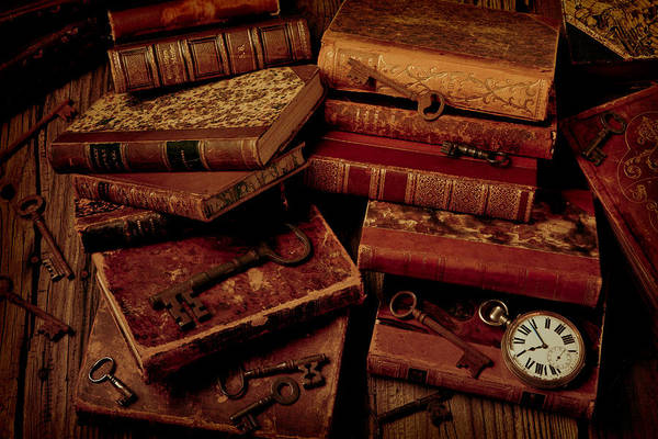 Skeleton Key Photograph - Love Old Books by Garry Gay