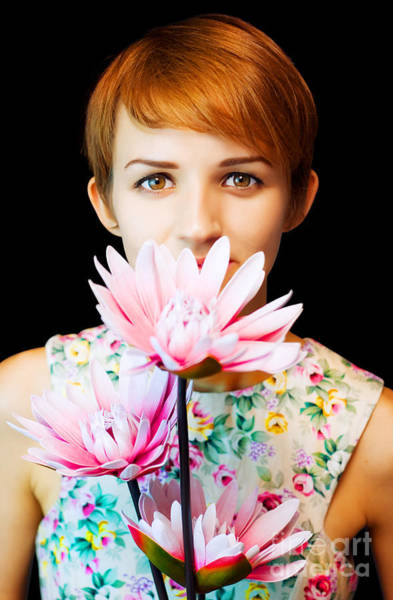 Lovely Woman In Floral Dress Holding Flowers Art Print