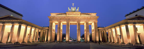 Brandenburg Gate Photograph - Low Angle View Of A Gate Lit by Panoramic Images