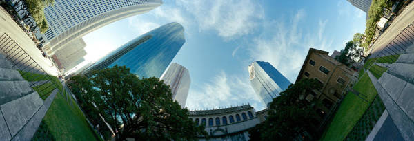 Fish Eye Lens Photograph - Low Angle View Of Skyscrapers, Houston by Panoramic Images