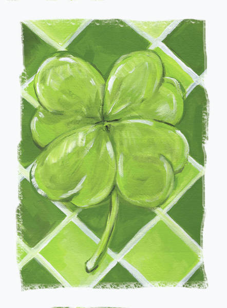 St Patricks Painting - Lucky Clover by Anne Seay