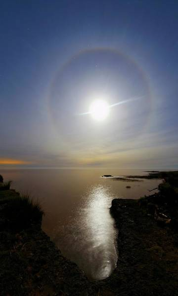 Moon Shine Wall Art - Photograph - Lunar Halo Over Water by Luis Argerich