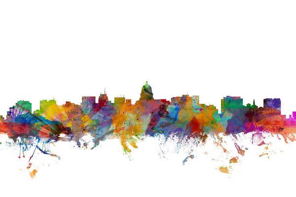 Wisconsin Wall Art - Digital Art - Madison Wisconsin Skyline by Michael Tompsett